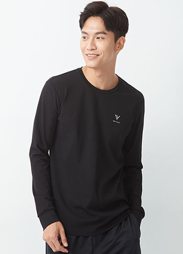 品牌印字圓領長袖T恤