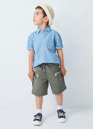 BABY多口袋字樣短褲