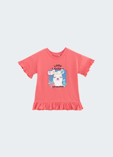 BABY荷葉袖印花T恤
