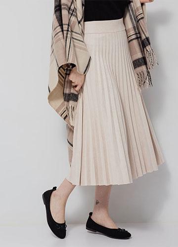 麂皮百褶針織長裙