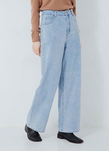 落地牛仔寬褲