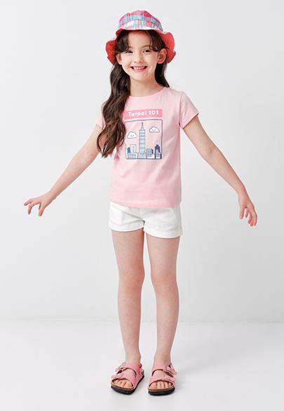 女童多色鬆緊帶短褲